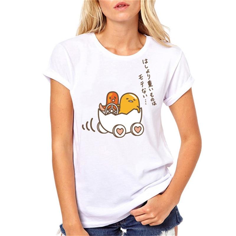 New brand Gudetama Lazy Egg Yolk print funny t shirt women fashion kawaii graphic top tee
