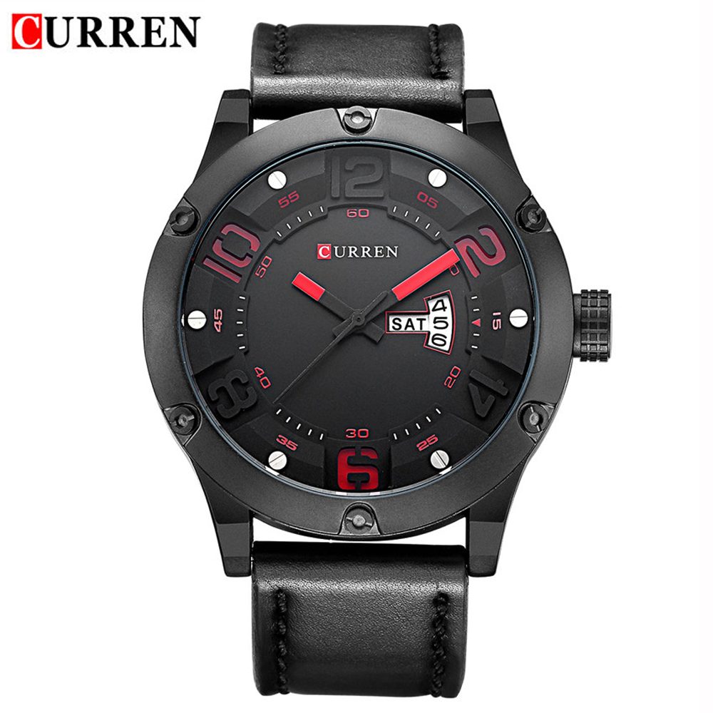 Relogio Masculino CURREN Date Day Men Quartz Watch Brand Fashion Leather Sports Watches Military Casual Wrist Watch Men Clock fashion o t sea brand faux leather blue ray glass watch men military quartz wrist watches relogio masculino w042
