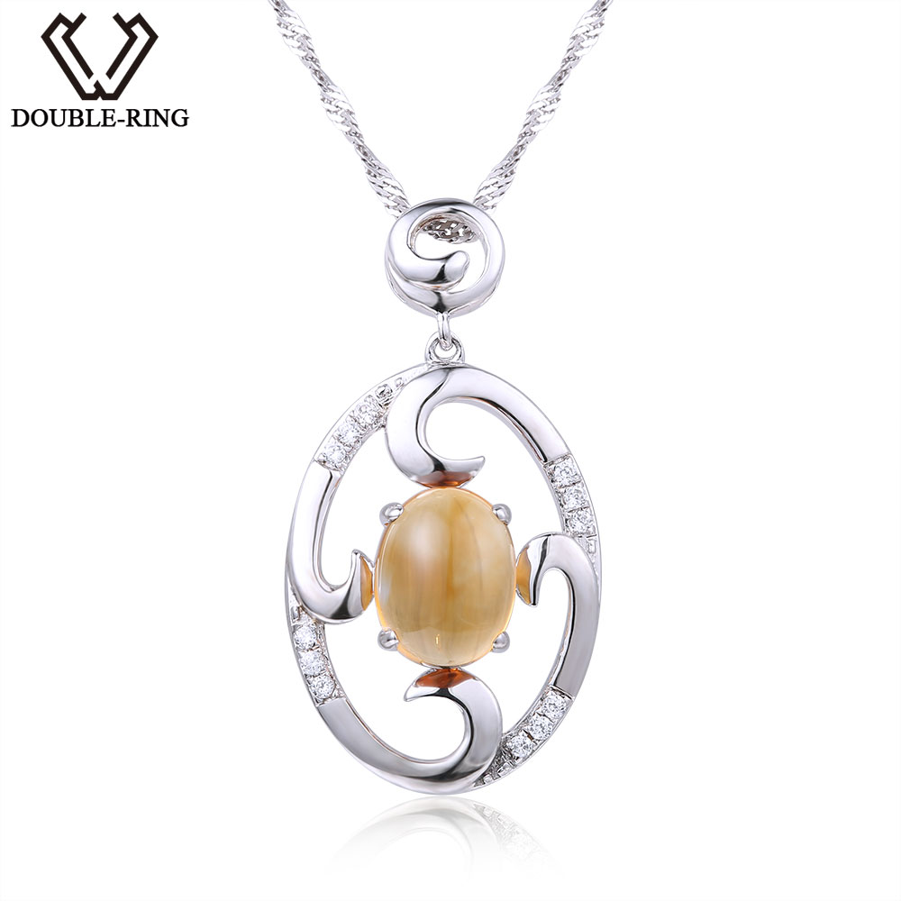DOUBLE-R Natural 2.20ct Citrine Round Fine Jewelry  for women 925 Sterling Silver Classic Gemstone Necklaces Jewelry Gift DOUBLE-R Natural 2.20ct Citrine Round Fine Jewelry  for women 925 Sterling Silver Classic Gemstone Necklaces Jewelry Gift