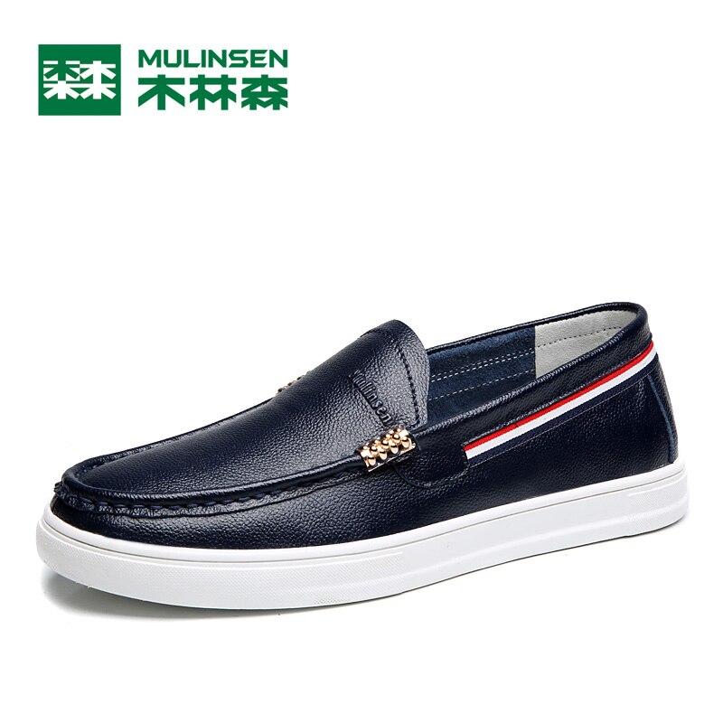 Prix pour Mulinsen haute qualité en cuir véritable semelle en caoutchouc hommes de planche à roulettes chaussures printemps automne étanche glissement sur le style chaussures hommes 270207