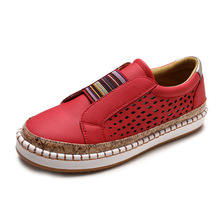 Women's Slip on Sneakers PU Leather Hollow Out Casual Leisure Shoes Breathable Low Top Flat Loafers Shoes suede low top slip on sneakers
