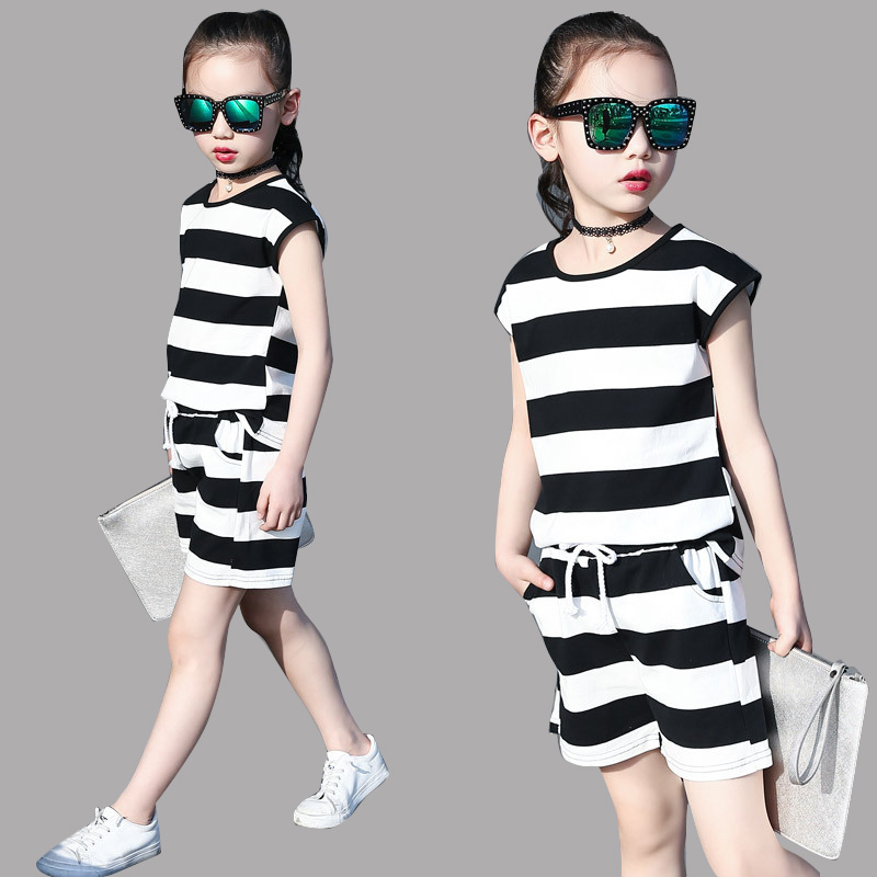 Kids Clothing Sets for Girls Summer Stripe Outfits Infant Cotton Sets Vest & Pants 2pcs Suits 6 10 12 Years Children Tops Shorts new fashion summer kids girls clothing sets cotton sleeveless polka dot strap girls jumpsuit clothes sets outfits children suits