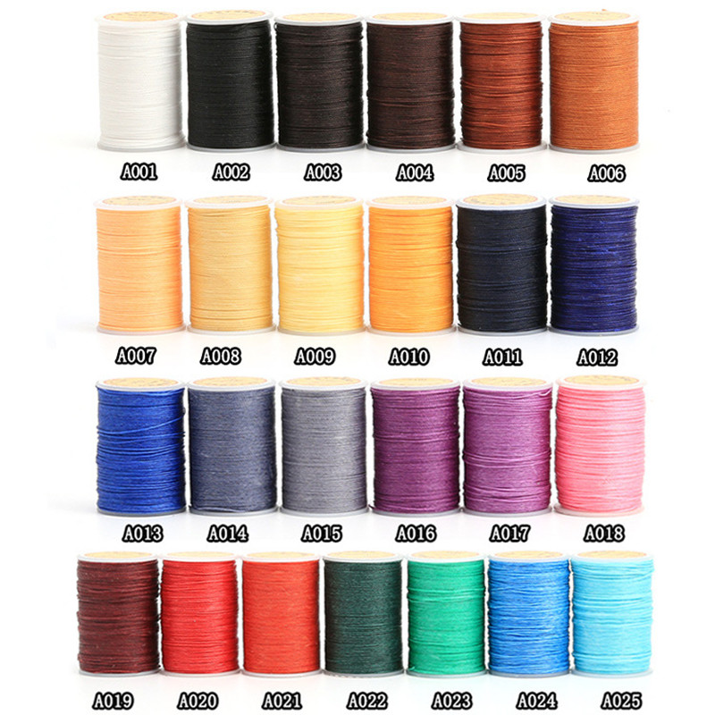 0.55mm Leather Sewing Round Waxed Thread Polyester Hand Sewing Line Leather Work Cord Craft Tool DIY 25Colors Available