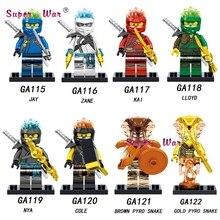 Single Model Building Blocks Ninja Series Action Figure JAY ZANE KAI LLOYD NYA COLE WU GOLD BROWN PYRO SNAKE Toys for children