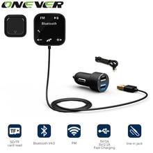 A2DP Magnetische Carkit Draadloze Bluetooth Fm-zender Mp3-speler 3.5mm Audio AUX TF kaartsleuven Met Dual USB Auto Charger