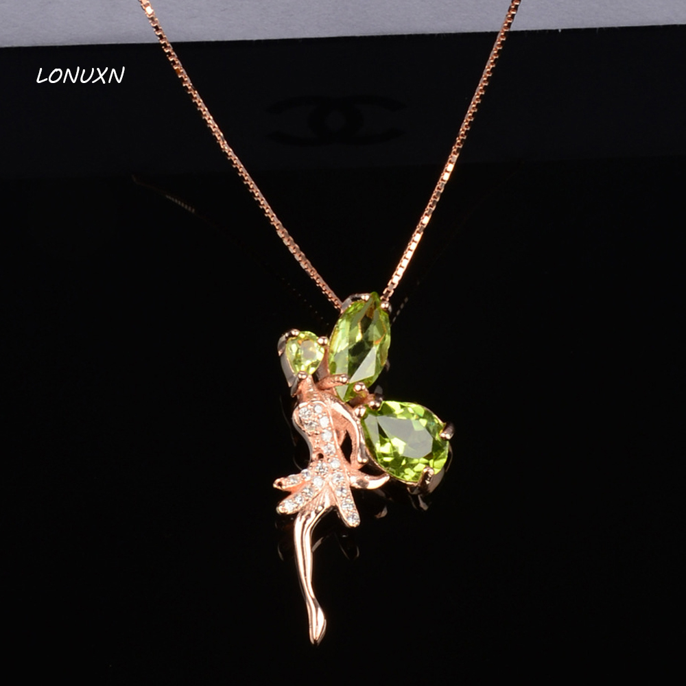 cute natural Green Crystal fairy party simple gold classic cute Peridot Pendant Necklace female Angel girls lovers best giftcute natural Green Crystal fairy party simple gold classic cute Peridot Pendant Necklace female Angel girls lovers best gift