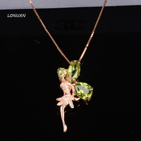 cute natural Green Crystal fairy party simple gold classic cute Peridot Pendant Necklace female Angel girls lovers best gift