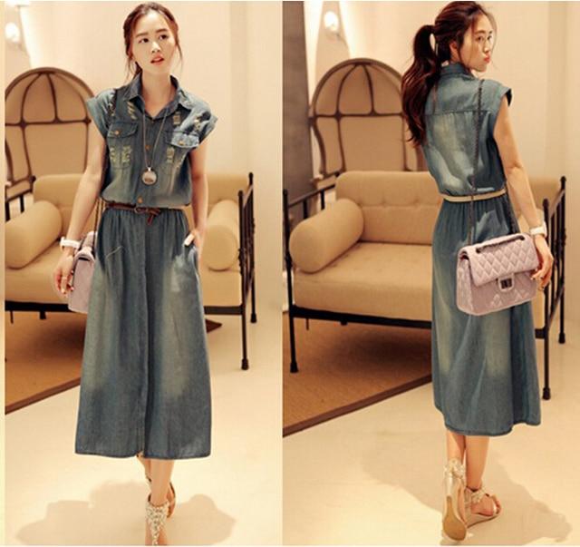 d97120e597c Hot New Woman Summer Denim Dress Long Vintage Sexy Polo Collar Blue Casual  Vestido Jeans Female Cowboys Dresses