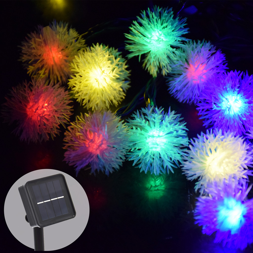 Solar 30Led 8Mode Snowball String Fairy Lights Utomhus Solar Power Lights För Parter Holiday Garden Decoration Vattentät