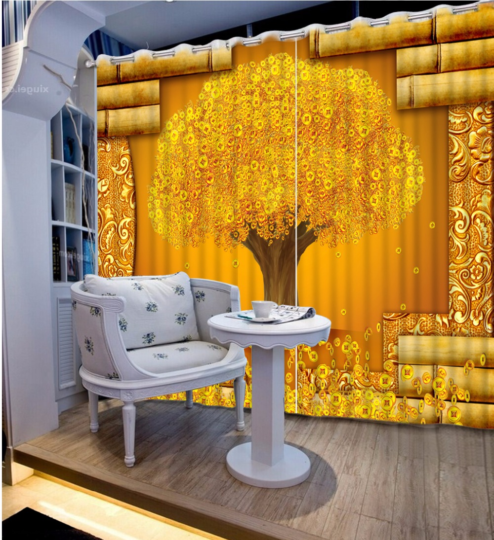 Creative 3D Photo Curtains gold tree Curtains For Living Room Bedroom Modern Fashion Hotel Office Wall Window Treatments DrapesCreative 3D Photo Curtains gold tree Curtains For Living Room Bedroom Modern Fashion Hotel Office Wall Window Treatments Drapes