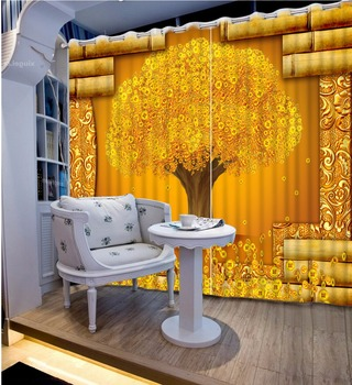Creative 3D Photo Curtains gold tree Curtains For Living Room Bedroom Modern Fashion Hotel Office Wall Window Treatments Drapes