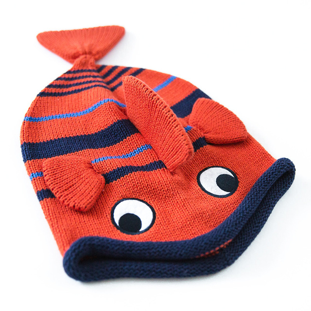 2016 Red Cute Unisex Fish Hat Cotton Cartoon Crochet Kids Beanies