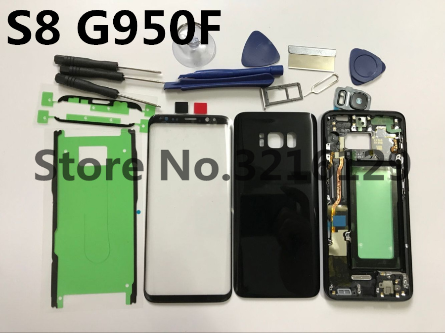 Original Full Housing Case Back Cover + Front Screen Glass Lens + Middle Frame For Samsung Galaxy S8 G950 G950F Replace all partOriginal Full Housing Case Back Cover + Front Screen Glass Lens + Middle Frame For Samsung Galaxy S8 G950 G950F Replace all part