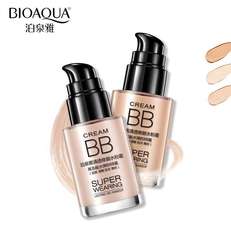 BIOAQUA Merek Basis Makeup Wajah Foundation Cair Pemutih Pelembab Oil-control Concealer BB Cream Kosmetik Tahan Air 30 ml