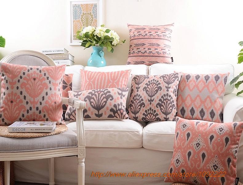 rojo nrdico almohadas decorativas rosa a cuadros geometra serie cojines de algodn de lino decorativo