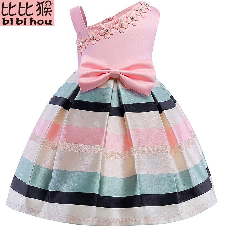 Платье принцессы для маленьких девочек, детские полосатые платья без рукавов для маленьких девочек, детская модная одежда в европейском и а...