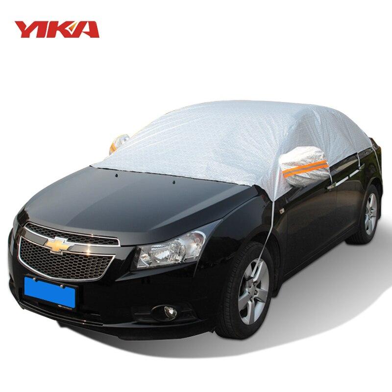 YIKA Universal Half Car Covers Thicken Waterproof Sunshade Heat Insulation Dustproof Anti UV Scratch Resistant Snow
