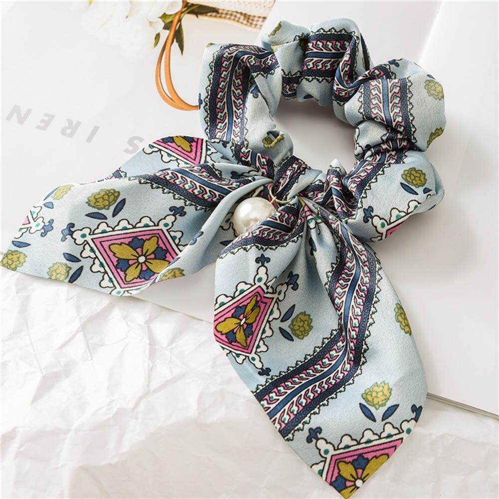 Nouveau mousseline de soie Bowknot élastique bandes de cheveux pour les femmes filles perle chouchous bandeau cheveux cravates élastique pour queue de cheval accessoires de cheveux 11