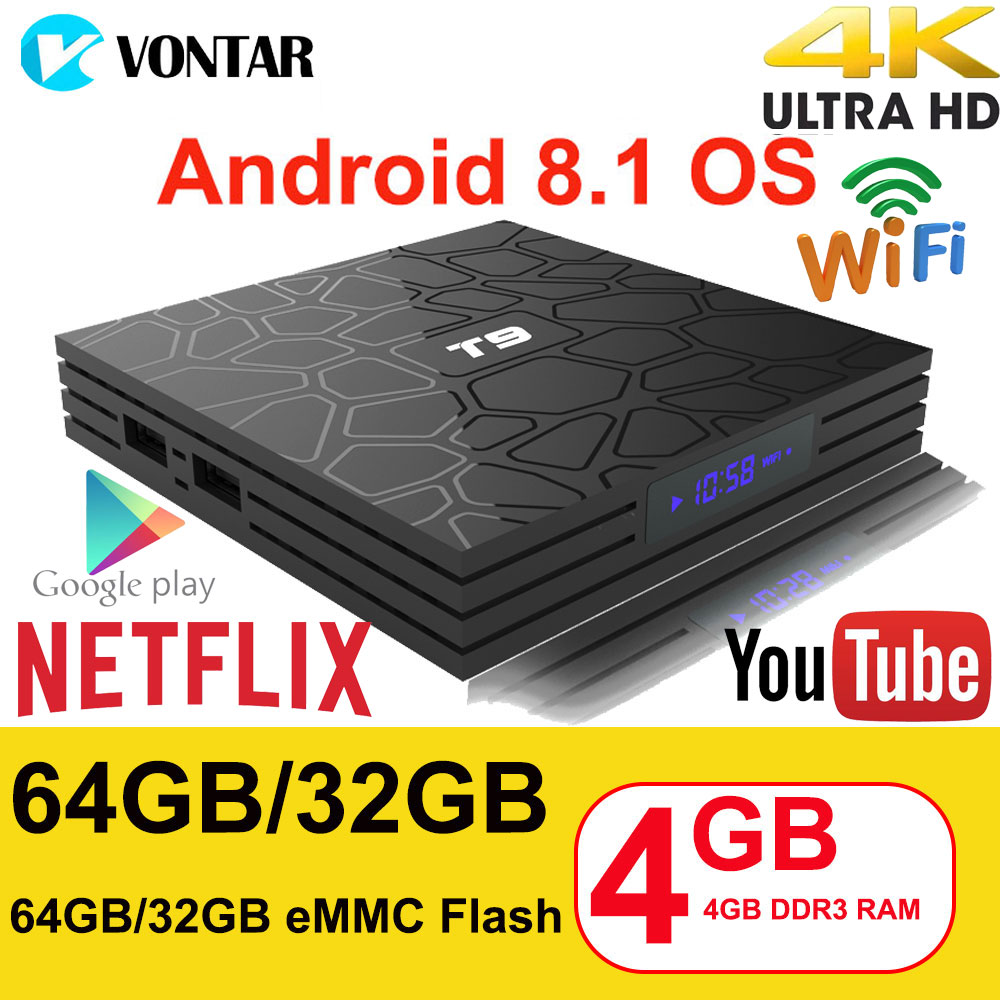 Android 8,1 ТВ коробка VONTAR T9 4 ГБ Оперативная память 32 ГБ/64 ГБ Rockchip RK3328 1080 P H.265 4 К Google игрока магазин Netflix Youtube ТВ коробка pk Ми S