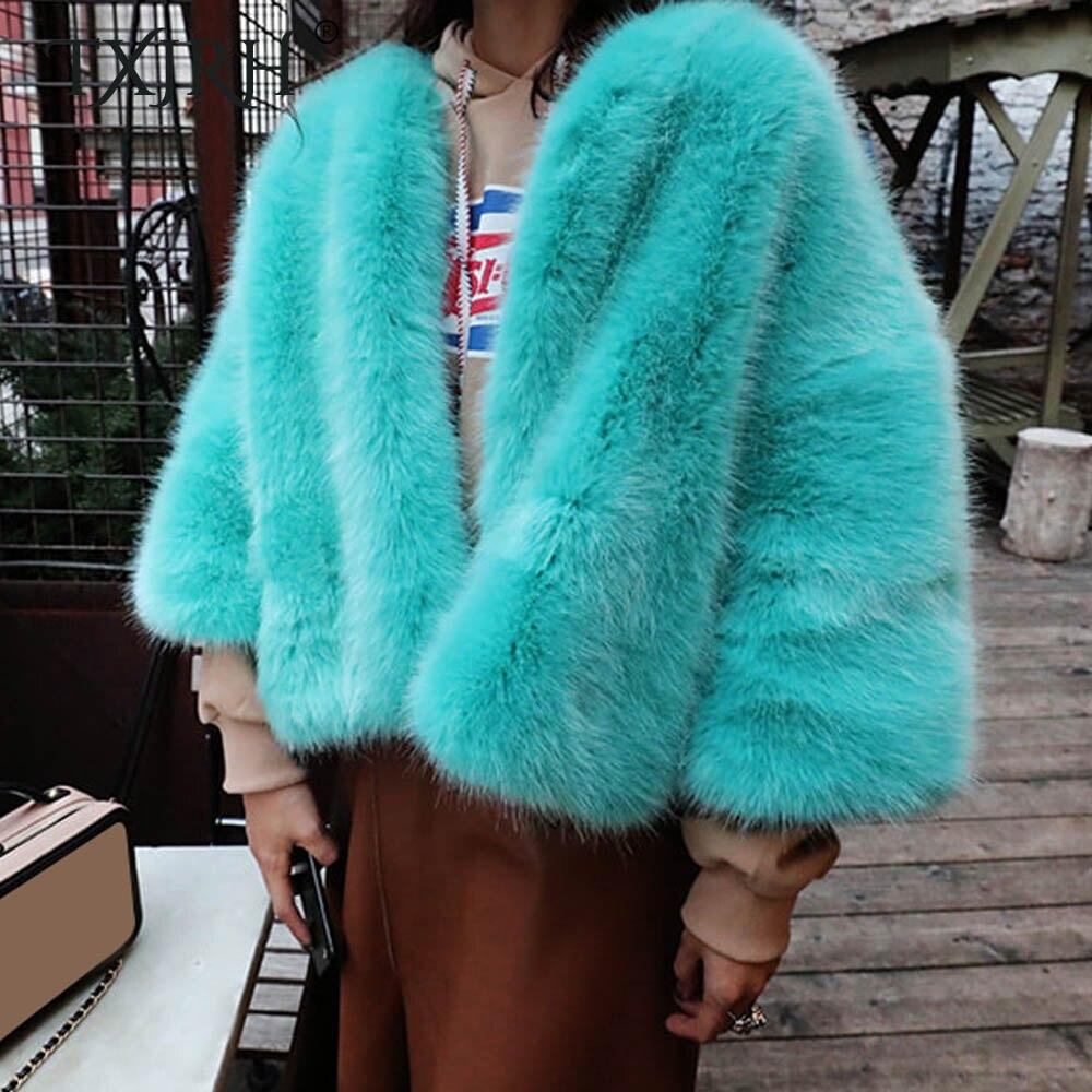 TXJRH Stylish O-Neck Long Hairy Shaggy Faux Fox Fur Short Jackets Winter Woman Long Sleeve Loose Faux Fur Coat Outerwear Tops цена