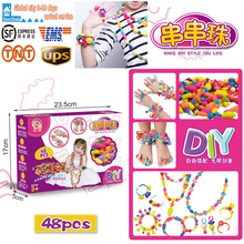 48pcs Colorful DIY Creative String Beaded Bracelet Bead Intelligence Educational Toy Craft Children's Early Teaching Aids