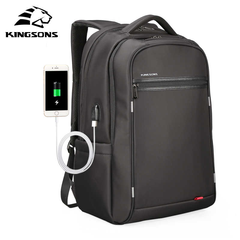 Kingsons משולב USB טעינה גברים 17 אינץ מחשב נייד תרמילי נער אופנה זכר המוצ 'ילה פנאי נסיעות תרמיל