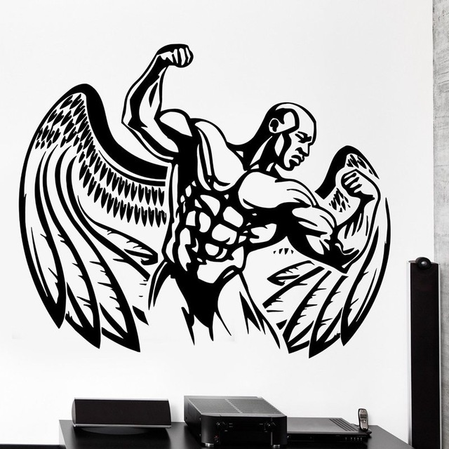 US $11 72 49% OFF|New arrival free shipping Fitness Sticker Body building  Decal GYM Posters Vinyl Wall Decals home Decor Mural Fitness Sticker-in  Wall