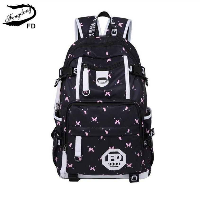 f637a532079e US $39.88 |FengDong waterproof fabric school bags for girls cute butterfly  decoration usb backpack laptop bag 15.6 schoolbag girl book bag-in School  ...