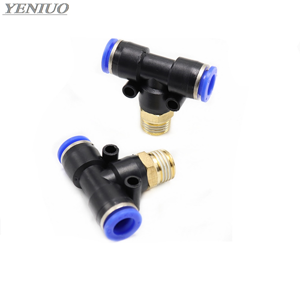 "PB"" Air Connector Fitting T Shape Tee 4mm to 12mm Hose Pipe to 1/8"" 1/4"" M5 3/8"" 1/2"" BSP Male Thread Pneumatic Coupler"