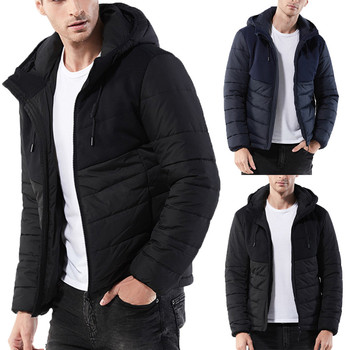 b90b958bc81 Hot new winter 2018 Men's Winter Hoodie Nylon Zipped Thick Solid Fleece  Coat Cotton-padded jackets Down solid color drawstring