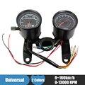 Universal Motocicleta Odômetro Velocímetro Tacômetro Calibre 0 ~ 160 km/h 13000 RPM LED Backlight Conjunto