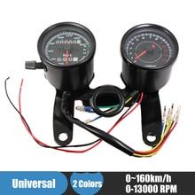 Universal Motorcycle Speedometer Odometer Gauge 0~160km/h 13000 RPM LED Backlight Tachometer Set Black Silver Instrument