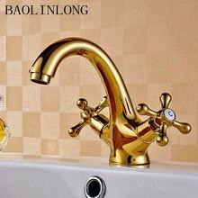 Antique Brass Bathroom Basin Faucet Deck Mount Vanity Vessel Sinks Crane Mixer Single Faucets Tap