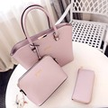 three pieces female handbags fashion and casual style new PU material women shoulder bags interior zipper pocket