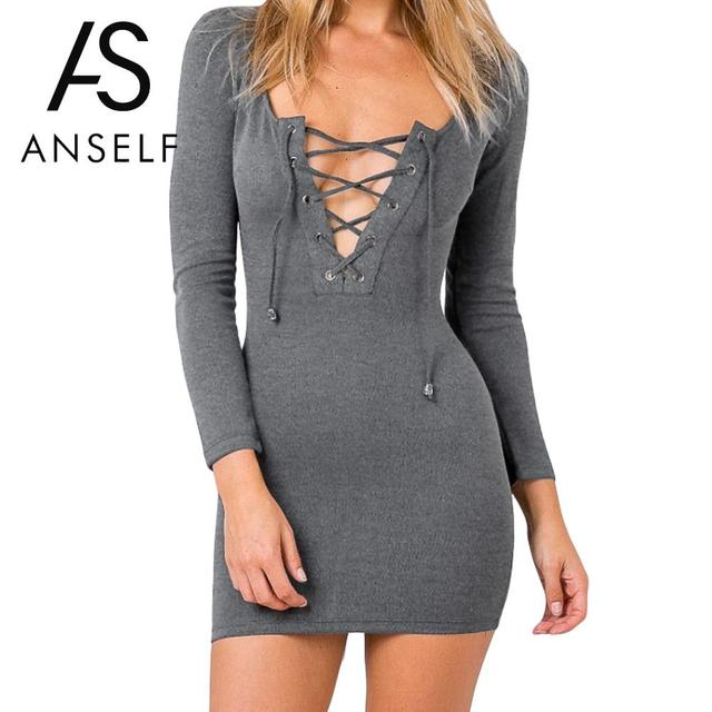 ee18723ae417 Anself New Sexy Women Bodycon Dress Deep V-Neck Lace Up Winter Dress Long  Sleeve