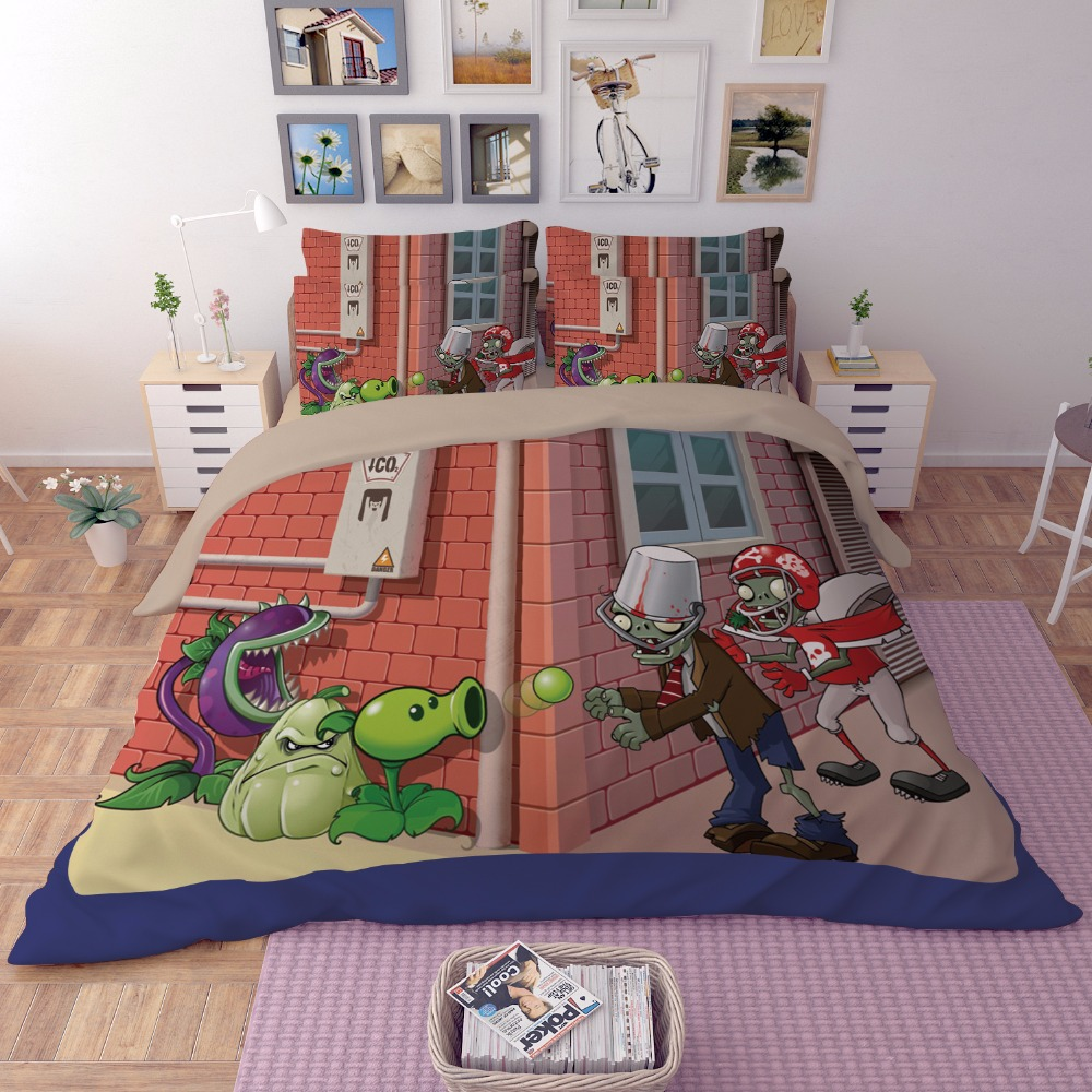New 3D cartoon bedding sets Plants vs Zombies red anime printing duvet blanket cover pillowcase full