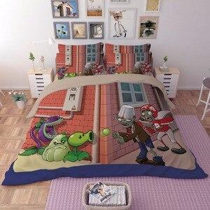Image 1 - Novo 3d dos desenhos animados conjuntos de cama plantas vs zumbis vermelho anime impressão capa edredão cobertor fronha rainha completa rei tamanho cama se