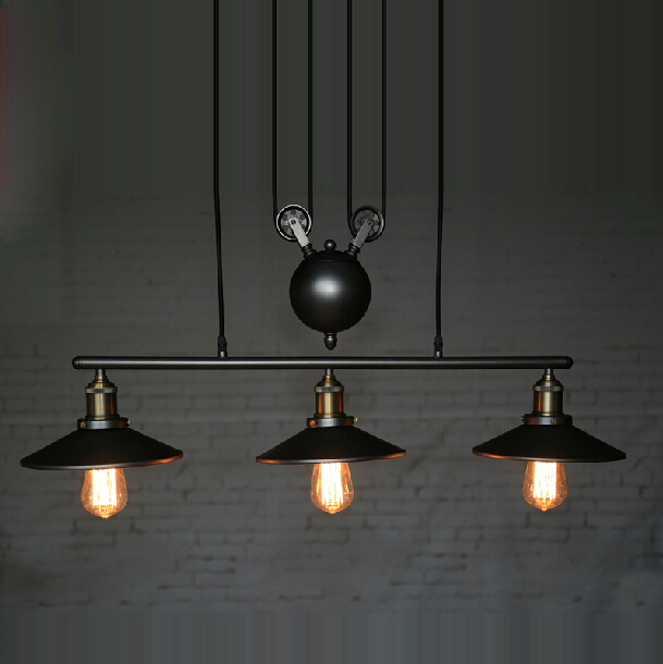 Industrial 3 Head Vintage Iron RH Loft LED American Country Pulley Pendant Lights Adjustable Wire Lamps Retractable Bar Lighting single head vintage iron rh loft industrial led american country pulley pendant lampls adjustable wire retractable bar lighting