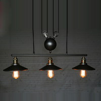 3 Head Vintage Iron RH Loft Industrial LED American Country Pulley Pendant Lights Adjustable Wire Lamps