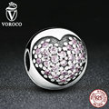 VOROCO Romantic Gift Real 925 Sterling Silver Pink Heart Bead Charms fit VRC Bracelet Women Beads & Jewelry Makings C030