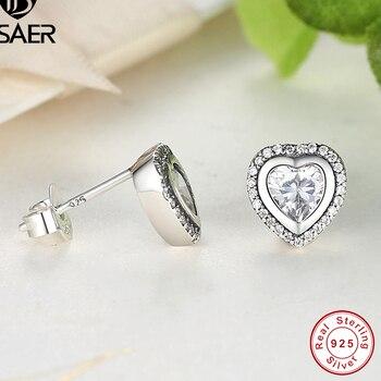 Hadiah 925 Sterling Perak Cinta Kecil Stud Anting-Anting untuk Wanita Mawar Emas Bening CZ Anting-Anting Wanita Fashion Perhiasan Brincos WEUS473