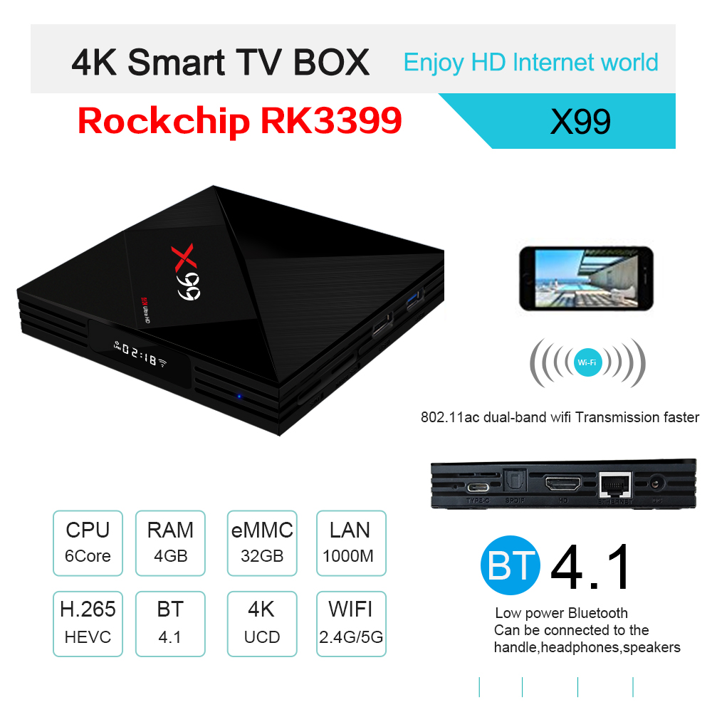 DHL Freeshipping 5pcs RK3399 X99 Android 7.1 TV BOX 4GB RAM 32GB ROM Voice remote 5G WiFi Super 4K OTT Smart Media Player