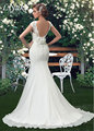 Elegant Chiffon And Lace High Straps Backless Mermaid Wedding Dress With Applique Lace Handmade Flower Trumpet Bridal Dress