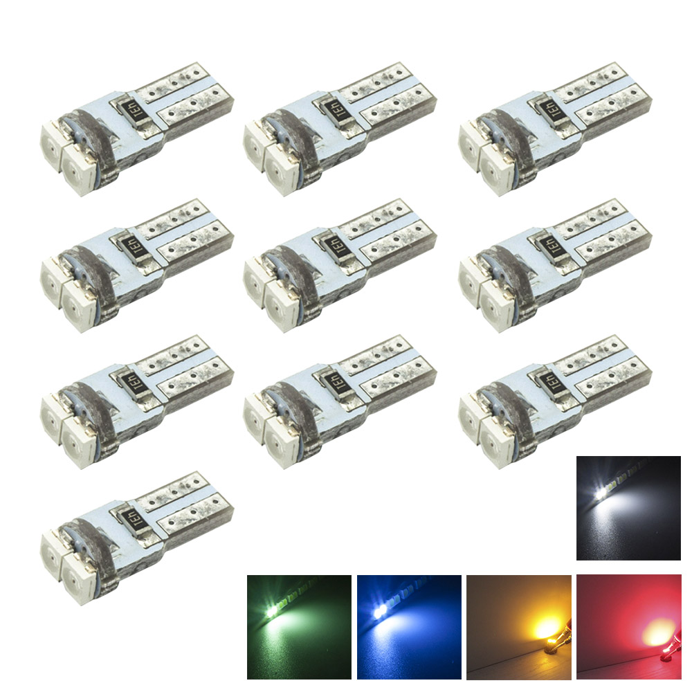 10-Pack,T5 LED Dashboard Instrument Indicator Light Speed Wedge 3528 LED 2SMD White Red Green Blue Yellow PC74 12V Car Lamp Bulb