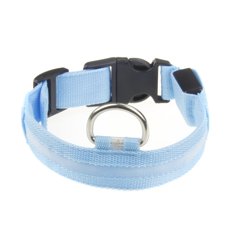 Pets Safety Nylon Dog Collar LED Glow Flashing Light-up LED Collar S M L XL