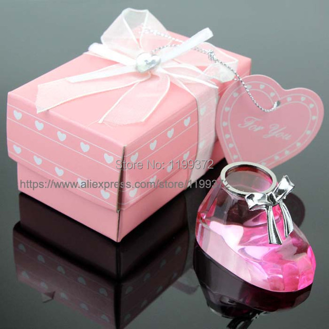 200pcs Pink Choice Crystal Baby Shoe For Christening Favors Shower Party Keepsakes Souvenirs Free Shipping