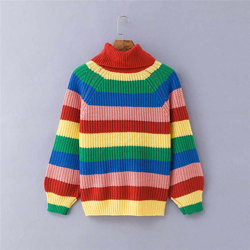 40e9d5cc14c44 ... chic rainbow pullover women 2018 turtleneck women s sweater knitted  pulover feminino manga longa inverno dropshipping ...
