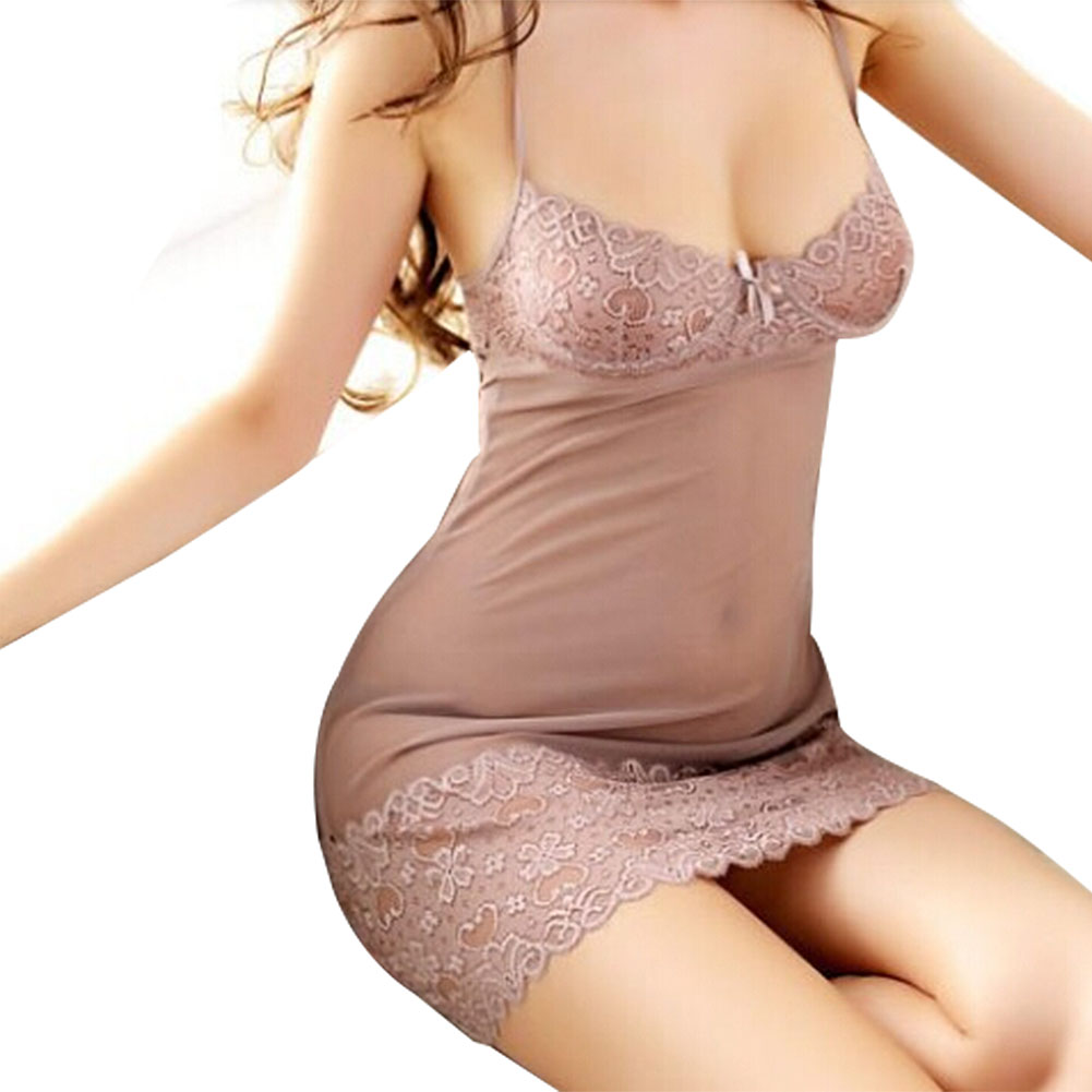 IMC Ladies Sleepwear est Women Sexy Lingerie Sleepwear Underwear Dress+G-string,Sexy Chemise, Sexy Intimates -Khaki