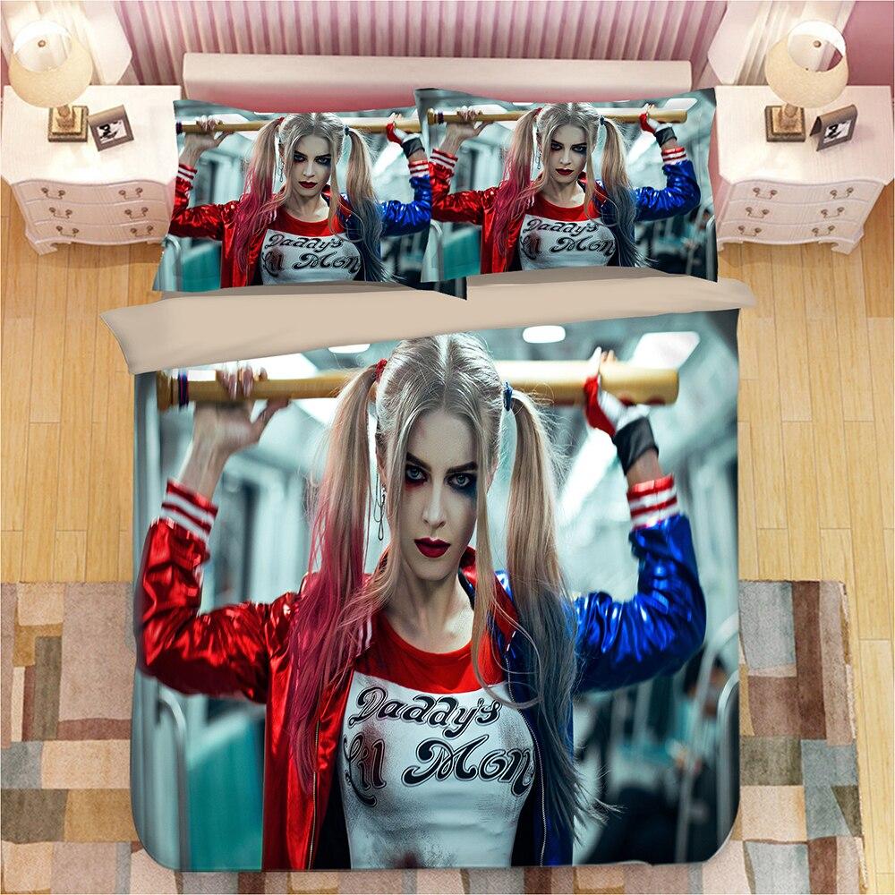 Suicide Squad Pattern Comforter Cover Bedding Sets Duvet Cover Set Joker Bed Set Twin Double Bedding Set Queen Size Quilt Cover