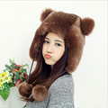 HT550 Hot Faux Fur Beanies Cap With Fur Balls For Women Cute Animal Ear Female Cap Winter Russian Ushanka Hat Earflap Caps Hats